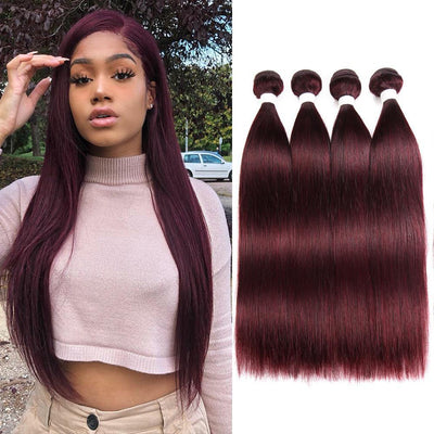 Colored 100% Human Hair Weave Straight 4 Hair Bundles 8-26 inch (99J) (2626197389412)