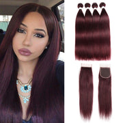 Straight Colored Human Hair Four Bundles Weave with One Free/Middle Part 4×4 Lace Closure (99J) (2840714936420)