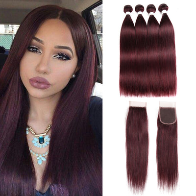 Straight Colored Human Hair Four Bundles Weave with One Free/Middle Part 4×4 Lace Closure (99J)
