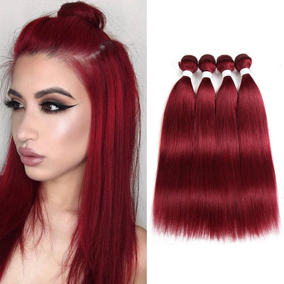 Kemyhair  4 Human Hair Bundles Straight (Burgundy) (2626298151012)
