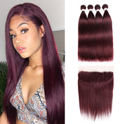 Straight Colored Human Hair Four Bundles Weave with One Free/Middle Part 4×13 Lace frontal  (99J)
