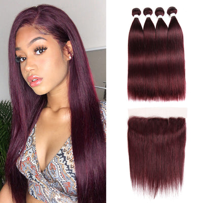 Straight Colored Human Hair Four Bundles Weave with One Free/Middle Part 4×13 Lace frontal  (99J) (2859358486628)