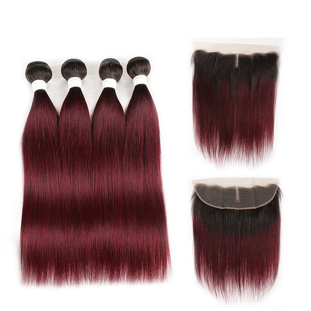 Ombre 99J Straight 4 Human Hair Bundles with One 4×13 Free/Middle Lace Frontal (3948227559494)