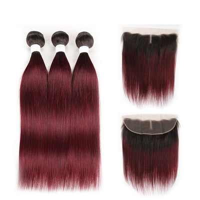 Ombre 99J Straight 3 Human Hair Bundles with One 4×13 Free/Middle Lace Frontal