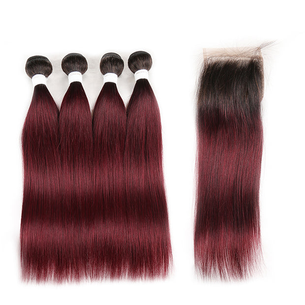 Ombre 99J Body Wave 4 Human Hair Bundles with One 4×4 Free/Middle Lace Frontal