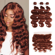 Body Wave Auburn Cooper Red Human Hair Weave 3 Bundles with Free/Middle Part 4×13 Lace Frontal (33)