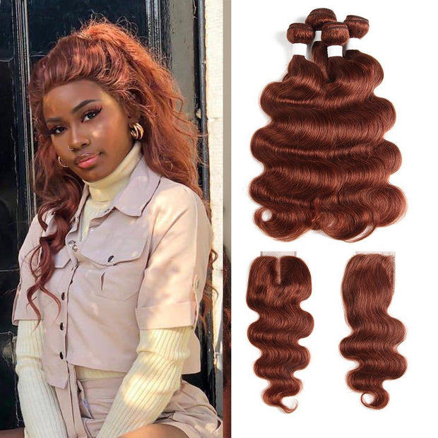 Body Wave Auburn Red Human Hair 4 Bundles Weave with One Free/Middle Part 4×4 Lace Closure (33) (2851584016484)