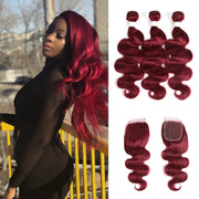 Kemyhair Human Hair 3 Bundles with 4×4 Lace Closure Body Wave (Burgundy) (2909211459684)