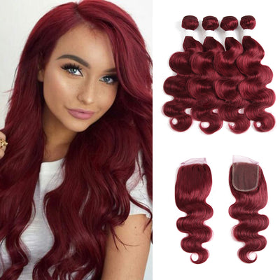 Kemyhair Human Hair 4 Bundles with 4×4 Lace Closure Body Wave (Burgundy)