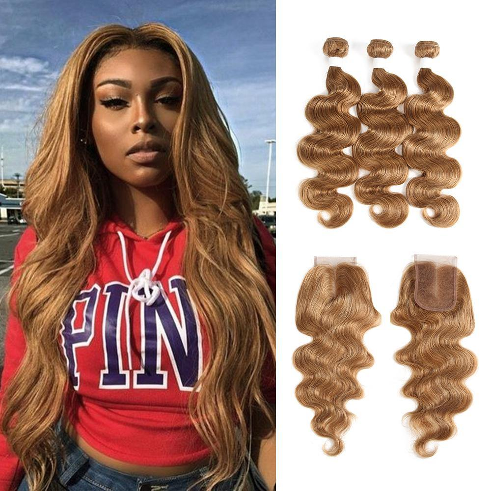 Kemy Hair Body Wave Honey Blonde Human Hair Weave Three Bundles with Free/Middle Part 4×4 Lace Closure (27) - Kemy Hair