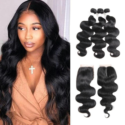 Body Wave Black Human Hair Weave 3 Bundles with Free /Middle Part 4-4 Lace Closure (1B)