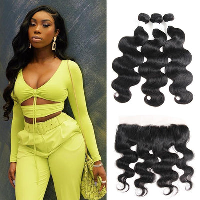 Body Wave Black Human Hair Weave 3 Bundles with Free /Middle Part 4×13 Lace Frontal (1B)