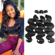 Colored Black 100% Human Hair Weave BODY Wave 3 Hair Bundles 8-26 inch (1B)