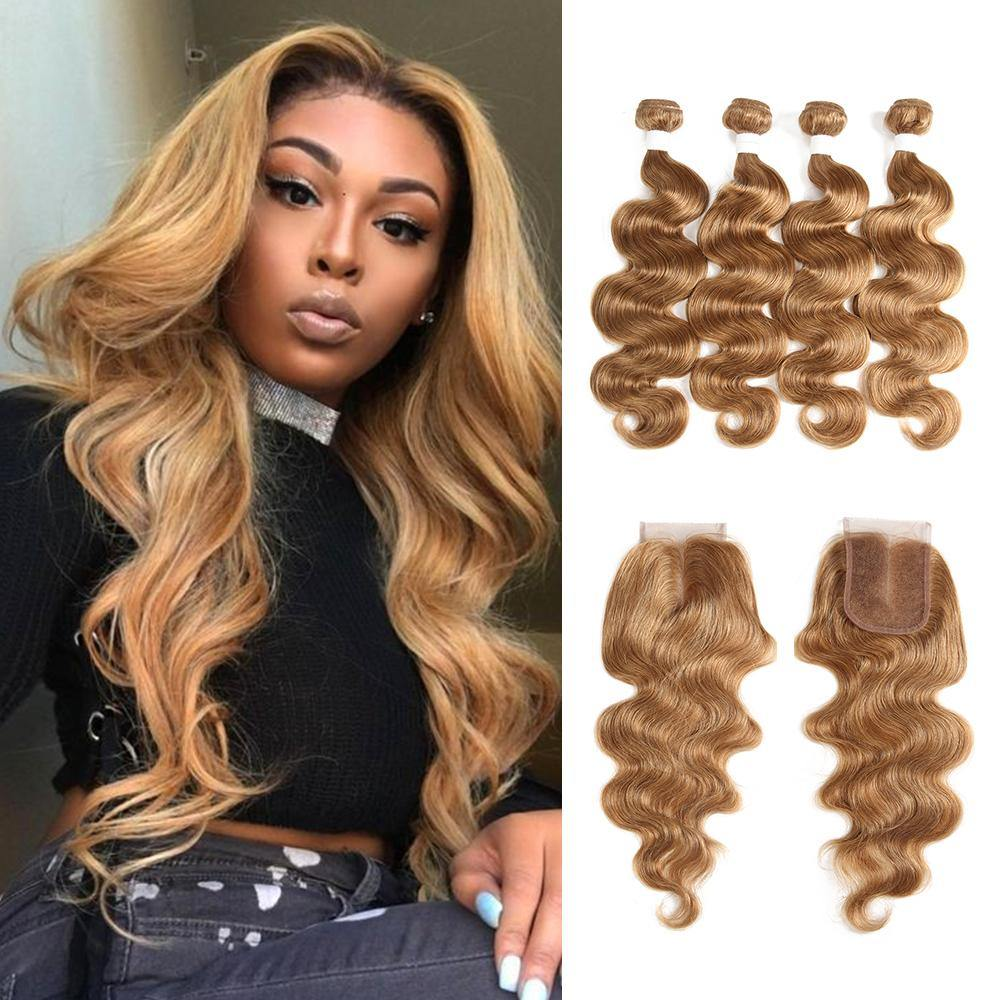 Kemy Hair Body Wave Honey blonde Human Hair 4 Bundles Weave with One Free/Middle Part 4×4 Lace Closure (27) - Kemy Hair
