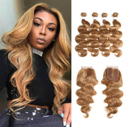Body Wave Honey blonde Human Hair 4 Bundles Weave with One Free/Middle Part 4×4 Lace Closure (27)