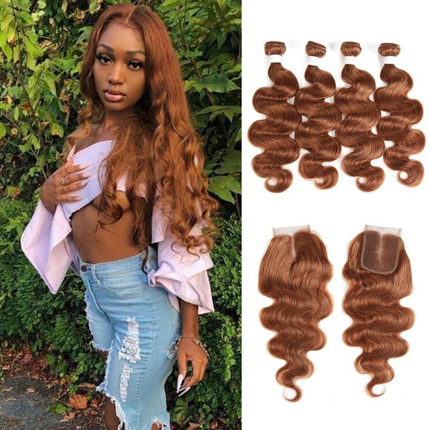Body Wave Brown Human Hair 4 Bundles Weave with One Free/Middle Part 4×4 Lace Closure (30)