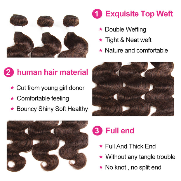 Ombre BURG Body Wave Human Hair 4×4 Free/Middle Part Lace Closure(8''-20'')