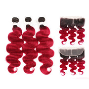 Ombre BURG Body Wave 3 Human Hair Bundles with One 4×13 Free /Middle Lace Frontal