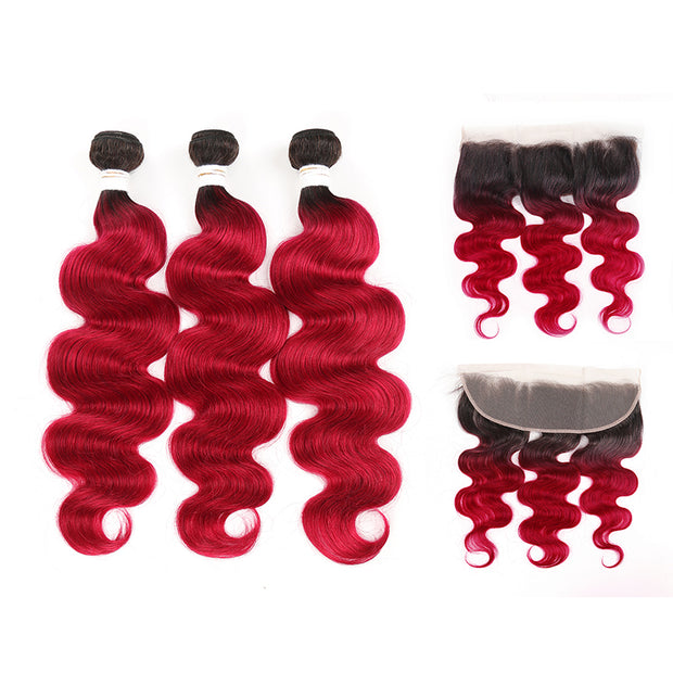 Ombre BURG Body Wave 3 Human Hair Bundles with One 4×13 Free /Middle Lace Frontal (3578827309156)