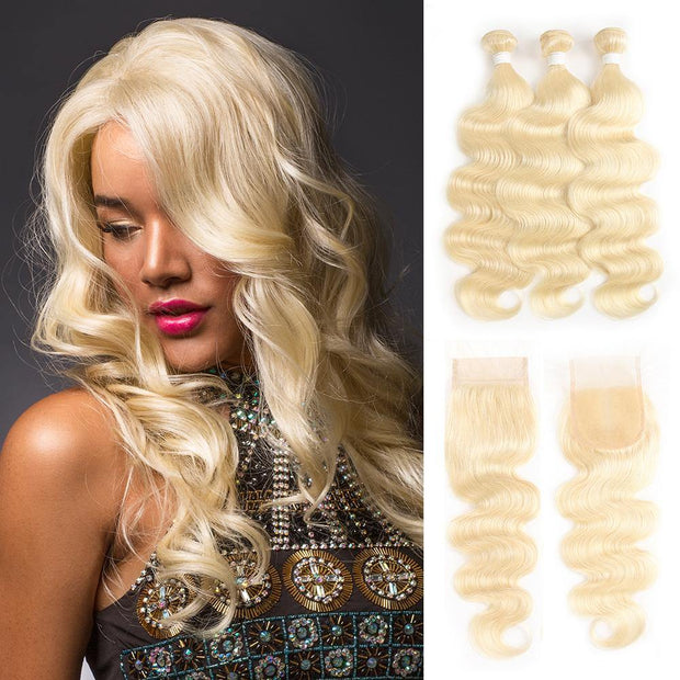 613 Blond Body Wave Remy 3 Human Hair Bundles with One 4×4 Free/Middle Lace Closure (3578109886564)