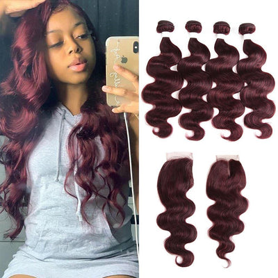 Body Wave Maroon Red Human Hair 4 Bundles Weave with One Free/Middle Part 4×4 Lace Closure (99J)