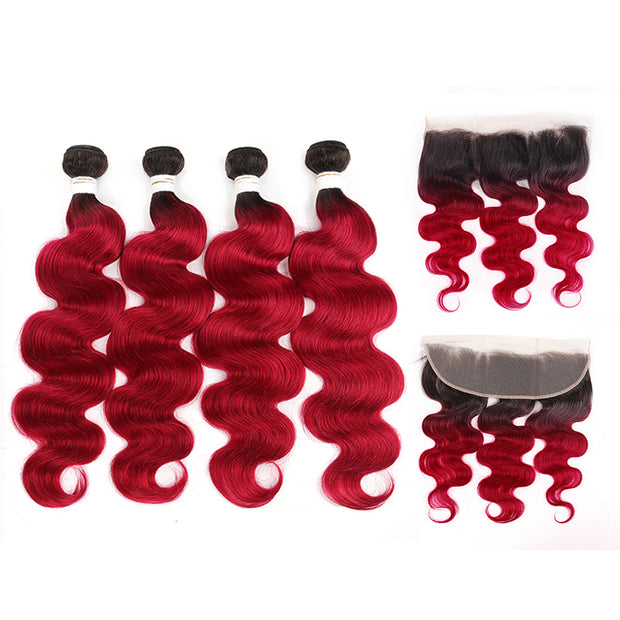 Ombre BURG Body Wave 4 Human Hair Bundles with One 4×13 Free/Middle Lace Frontal