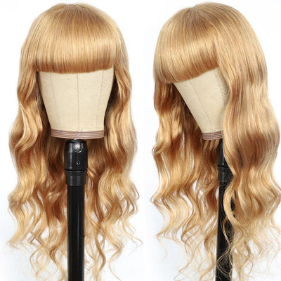 Honey Blonde Body Wave Human Hair Wigs with Bang 16''-28''(27#)