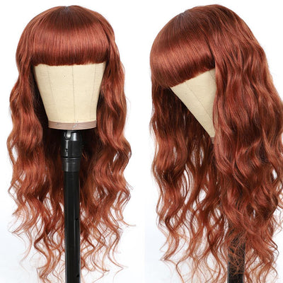 Auburn Red Body Wave Human Hair Wigs with Bang 16''-28''(33#) - Kemy Hair