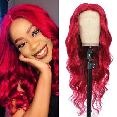 Kemy Hair Custom Burgundy Red Body Wave Human Hair 4X4 Lace Closure wigs 16''-28'' (BURG) - Kemy Hair