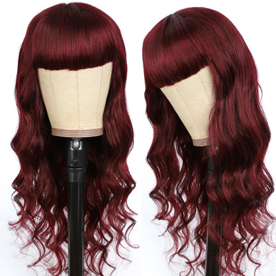 Maroon Red Body Wave Human Hair Wigs with Bang 16''-28''(99J)
