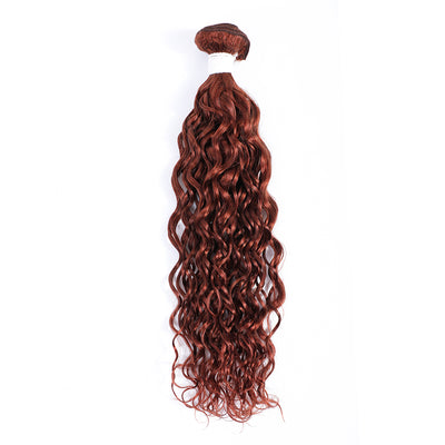 Water Wave Single Human Hair Bundles Auburn Red (33#)
