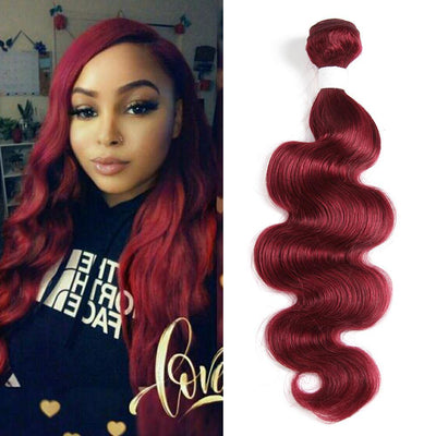 Kemy Hair Colored 100% Human Hair Weave Body Hair Bundle 8-26 inch (Burgundy) - Kemy Hair
