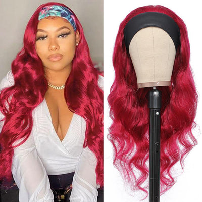 Kemy Hair Body Wave Human Hair Headband Wig Burgundy Red (16''-28'')(BURG) - Kemy Hair