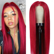 Kemy Hair Custom Burgundy Red Human Hair Lace Front wigs 8''-28'' (BURG)
