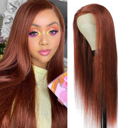 Custom Cooper Red Human Hair Lace Front wigs 8''-28'' (33)