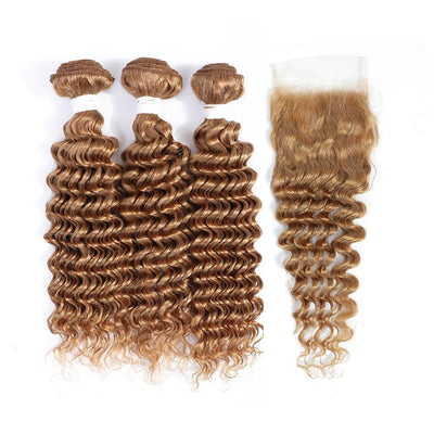 Kemy Hair 3 Deep Wave Honey Blonde Human Hair Bundles with 4×4 Lace Closure (27#)