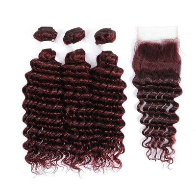 Kemy Hair 3 Deep Wave Maroon Red Human Hair Bundles with 4×4 Lace Closure (99J)