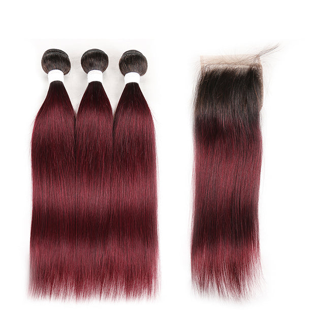 Ombre 99J Straight 3 Human Hair Bundles with One 4×4 Free/Middle Lace Closure