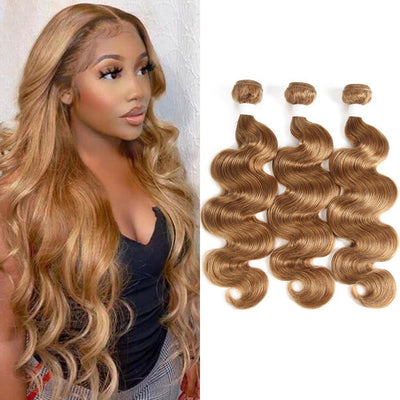 Kemy Hair Colored 100% Human Hair Body Weave  Three Hair Bundle 8-26 inch  (27) - Kemy Hair