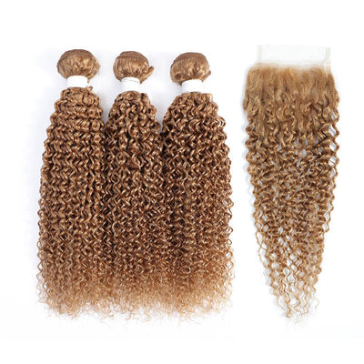 3 Kinky Curly Honey Blonde Human Hair Bundles with 4×4 Lace Closure (27#)