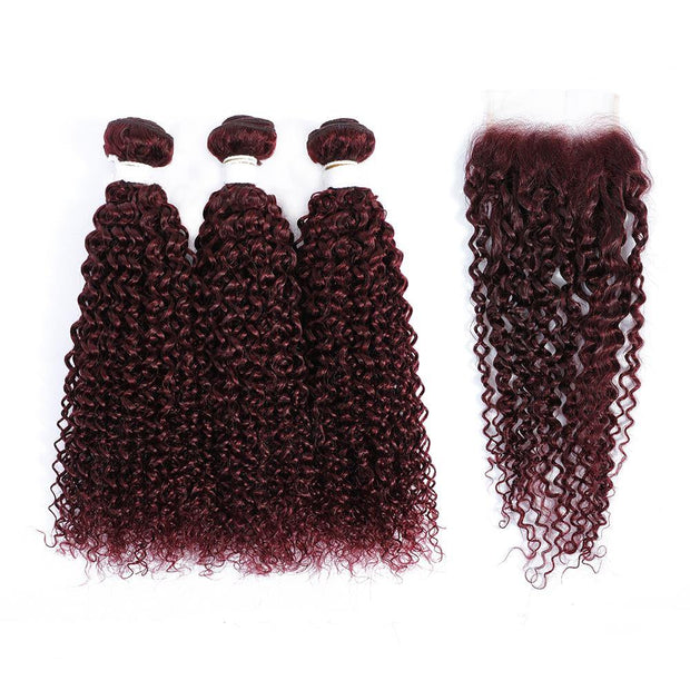 3 Kinky Curly Maroon Red Human Hair Bundles with 4×4 Lace Closure (99J)