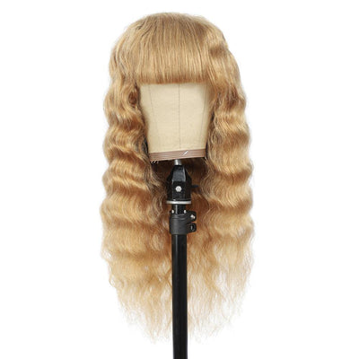 Honey Blonde Loose Deep Human Hair Wigs with Bang(16''-28'')(27#) - Kemy Hair
