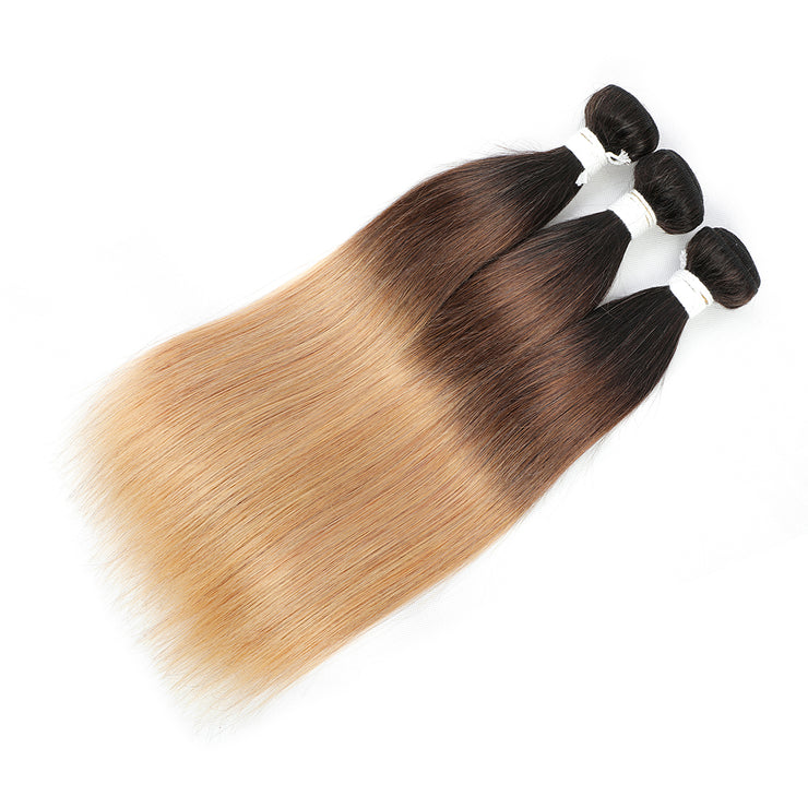 Straight Ombre 1B/4/27 Non-Remy 3 Human Hair Bundles 10''-26''