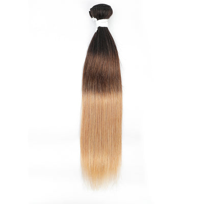 Straight Ombre 1B/4/27 Blond Non-Remy Human Hair Bundle 10''-26''