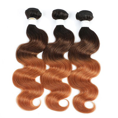 Ombre 1B/4/30 Body Wave Non-Remy Human Hair 3Bundles 10''-26''