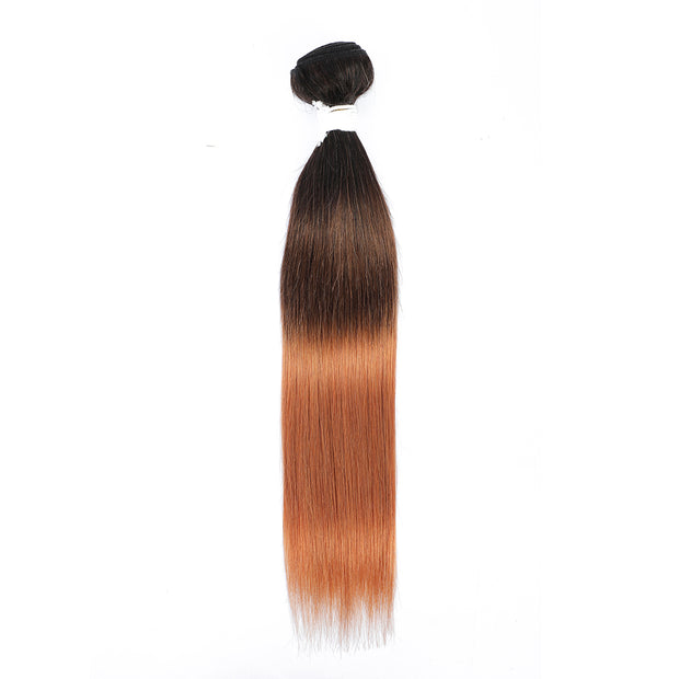 Straight Ombre 1B/4/30 Blond Non-Remy Human Hair Bundle 10''-26''