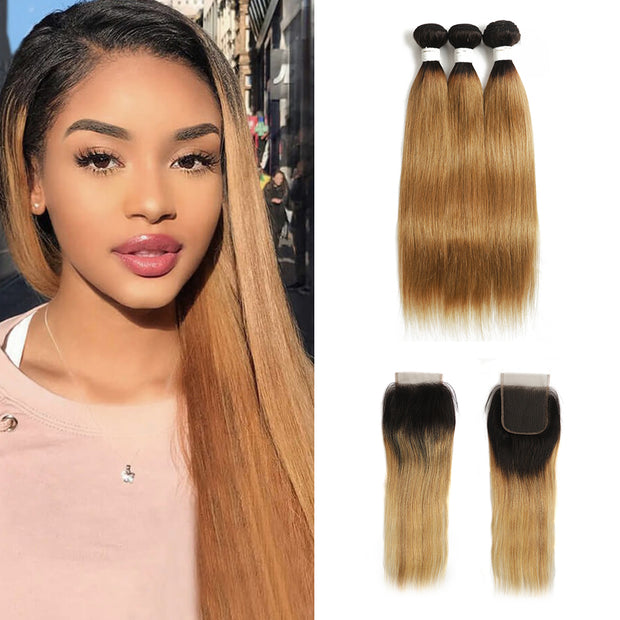 Ombre 27 Straight 3 Human Hair Bundles with One 4×4 Free/Middle Lace Closure (4249239617606)