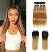 Ombre 27 Straight 4 Human Hair Bundles with One 4×4 Free/Middle Lace Closure (4249246400582)