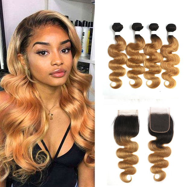 Ombre 27 Body Wave 4 Human Hair Bundles with One 4×4 Free/Middle Lace Closure (4249228902470)