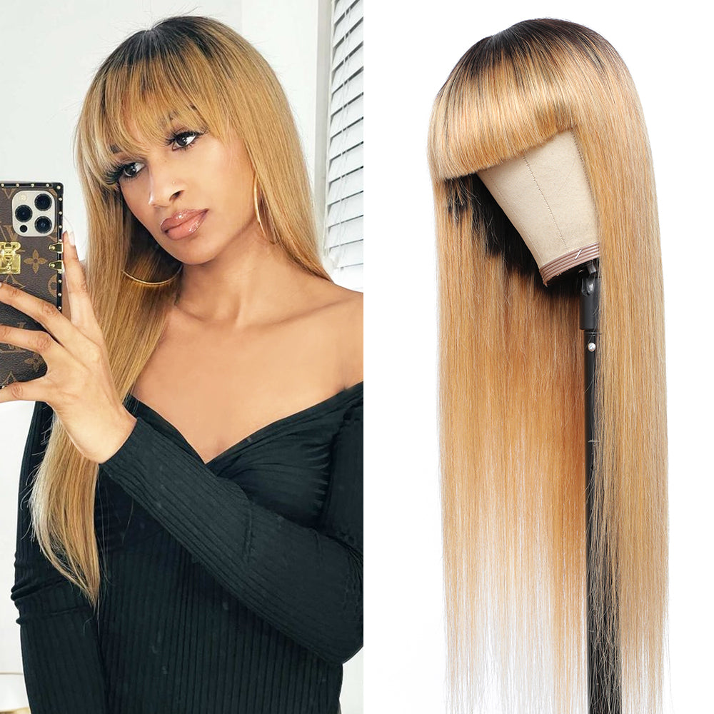 Kemy Hair Ombre Honey Blonde Straight Human Hair Wigs with Bang 16''-28'' (ombre 27)